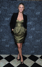 Julie Henderson's black blazer and gold cocktail dress at the H&M and Vogue Studios Between the Shows party were a flawless pairing.