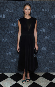 Stacy Keibler's green zebra-print sandals and little black dress at the H&M and Vogue Studios party were a lovely pairing.