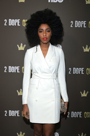 Jessica Williams looked smart in a belted white blazer dress at the '2 Dope Queens' slumber party premiere.