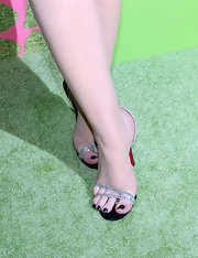 Michelle Trachtenberg showed off a sparkling pair of jeweled sandals.