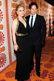 Anna Paquin was stunning in a black gown with a plunging cowlneck and gold embellished detailing.
