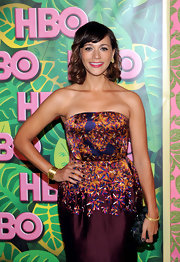 Rashida Jones attended HBO's Post Emmy Party wearing 20-karat gold Wild Rose stud earrings with rose cut diamonds.