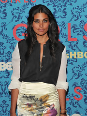 Rachel Roy's silky button-down was paired with a botanical skirt at the premiere of 'Girls' in NYC.