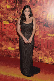 Ariel Winter slipped into this slinky black sheer-overlay gown with striped beading for the HBO Emmy after-party.