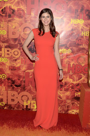 Alexandra Daddario kept it minimal in a red-orange column dress by Alexander Wang at the HBO Emmy after-party.
