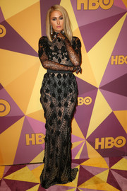 Paris Hilton went majorly vampy in a sheer black Yas Couture by Elie Madi gown at the HBO Golden Globes after-party.