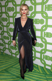Christina Ricci looked sultry in a midnight-blue Galvan dress with a deep-V neckline and a thigh-high slit at the HBO Golden Globes after-party.