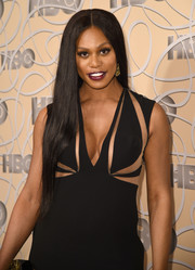 Laverne Cox rocked sleek waist-length tresses at the HBO Golden Globes after-party.