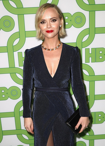 More Pics of Christina Ricci Bob (1 of 3) - Christina Ricci Lookbook - StyleBistro [hair,clothing,green,hairstyle,suit,dress,formal wear,blond,outerwear,cocktail dress,christina ricci,official golden globe awards,california,los angeles,circa 55 restaurant,hbo,arrivals]