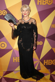 Helen Mirren chose a black Zuhair Murad lace gown with sexy sheer panels for the HBO Golden Globes after-party.