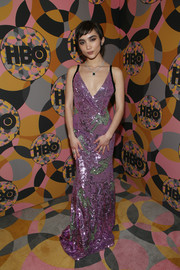 Rowan Blanchard got majorly glam in a lilac and green sequined gown by Miu Miu for the HBO Golden Globes after-party.