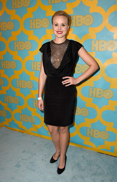 Alison Pill looked fabulous at the HBO Golden Globes party in a Kayat LBD featuring a drapey bodice and a sheer, crystal-studded yoke.