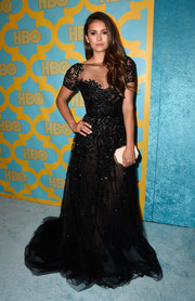 Nina Dobrev looked magical in a beaded black tulle gown by Zuhair Murad at the HBO Golden Globes party.
