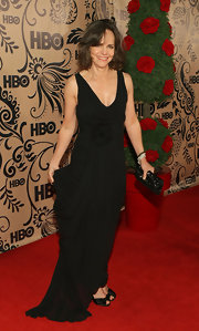 Sally's black gown was tremendously elegant.