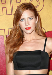 Brittany Snow wore her long hair loose in a glamorous wavy style at the HBO post-Emmy reception.