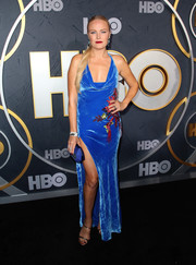 Malin Akerman slipped into an embroidered blue halter gown by Cushnie for the HBO post-Emmy reception.