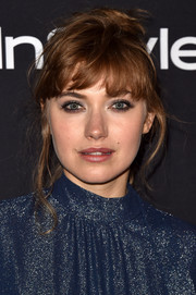 Imogen Poots attended the HFPA and InStyle TIFF celebration rocking a messy ponytail.
