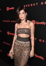 Halsey styled her sultry outfit with a faceted gold clutch when she attended the Spotify Secret Genius Awards.