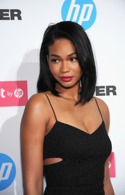 Chanel Iman swiped on some raspberry lipstick for a pop of color to her LBD at the HP event.