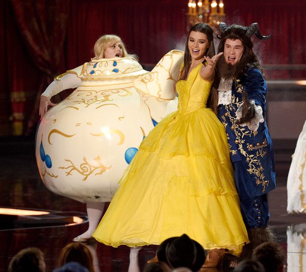 Hailee Steinfeld Princess Gown [movie,yellow,fashion,beauty,dress,performance,event,gown,costume design,haute couture,formal wear,hailee steinfeld,adam devine,r,tv awards,california,los angeles,the shrine auditorium,mtv,show]