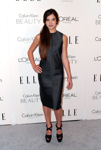 Hailee Steinfeld Platform Sandals [hailee steinfeld,17th annual women in hollywood tribute - arrivals,little black dress,fashion model,dress,flooring,catwalk,shoulder,cocktail dress,fashion,fashion show,formal wear,17th annual women in hollywood tribute,beverly hills,california,the four seasons hotel,elle,calvin klein collection]