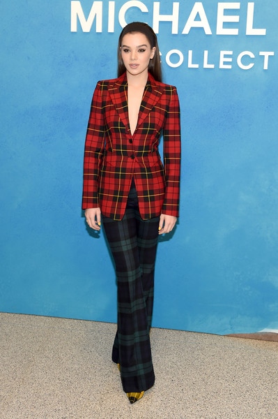 Hailee Steinfeld Pantsuit [michael kors collection spring 2019 runway show,plaid,tartan,clothing,pattern,fashion,outerwear,textile,design,suit,blazer,hailee steinfeld,front row,new york city,pier 17]