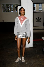 Jourdan Dunn went sexy on the bottom half in a silver mini skirt.