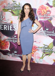 Andie MacDowell chose a slate-blue one-shoulder dress with ruffle detailing for the Hallmark Channel Winter TCA Press Tour.