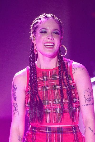 Halsey Gold Hoops [performance,purple,pink,fashion,lady,beauty,hairstyle,magenta,event,performing arts,california,los angeles,dick clarks new years rockin eve with ryan seacrest,halsey]
