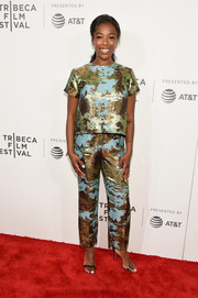 Samira Wiley donned a boxy abstract-print top for the Tribeca Film Fest premiere of 'The Handmaid's Tale.'