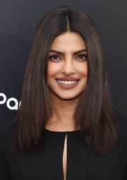Priyanka Chopra sported sleek, center-parted layers at the premiere of 'Hands of Stone.'