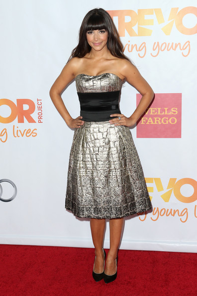 Hannah Simone Strapless Dress [clothing,dress,cocktail dress,fashion model,carpet,red carpet,hairstyle,strapless dress,premiere,fashion,hannah simone,jane lynch,toyota for the trevor project - arrivals,trevorlive la,hollywood palladium,california,toyota,trevor project]
