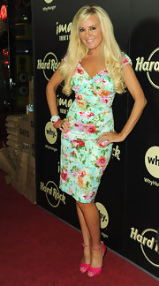 Bridget Marquardt donned hot pink Christian Louboutin Claudia pumps. She paired the candy colored pumps with a mint green floral dress.