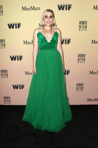 Harley Quinn Smith Princess Gown [women in film annual gala 2019,arrivals,harley quinn smith,dress,clothing,shoulder,gown,green,carpet,a-line,fashion model,cocktail dress,hairstyle,beverly hills,california,the beverly hilton hotel,max mara]