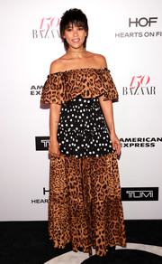 Alexandra Shipp wasn't afraid of mismatched prints, sporting a polka-dot and leopard off-the-shoulder gown by Dolce & Gabbana at the Harper's Bazaar 150 Most Fashionable Women celebration.