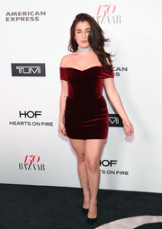 Lauren Jauregui was red-hot in a tiny velvet off-the-shoulder dress by Nicholas at the Harper's Bazaar 150 Most Fashionable Women celebration.