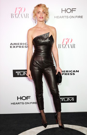 Amber Valletta looked ravishing in a strapless black leather jumpsuit by Alexandre Vauthier Couture at the Harper's Bazaar 150 Most Fashionable Women celebration.