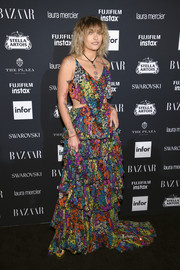 Paris Jackson was a boho babe in a tiered, multicolored floral cutout gown by Jenny Packham at the Harper's Bazaar Icons event.