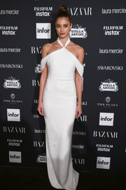 Taylor Hill looked simply elegant in a white halter gown by Brandon Maxwell at the Harper's Bazaar Icons event.