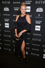 Malin Akerman was trendy in a black cold-shoulder dress at the Harper's Bazaar Icons event.