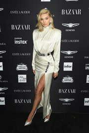 Elsa Hosk donned a bold-shouldered ivory satin gown by Alessandra Rich for the 2018 Harper's Bazaar Icons event.