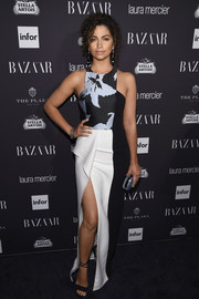 Camila Alves chose a structured halter gown by J. Mendel, featuring a floral bodice and a high slit, for the Harper's Bazaar Icons event.
