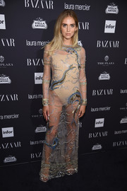 Chiara Ferragni dared to bare in this sheer beaded gown for the Harper's Bazaar Icons event.