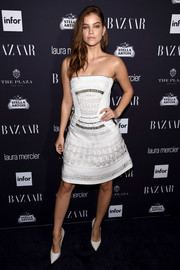 Barbara Palvin opted for a strapless, textured LWD when she attended the Harper's Bazaar Icons event.