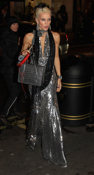 More Pics of Daphne Guinness Exotic Skin Tote (1 of 3) - Daphne Guinness Lookbook - StyleBistro [clothing,fashion,haute couture,dress,formal wear,event,performance,see-through clothing,fashion design,daphne guinness,england,london,dean street townhouse,harpers bazaar,host dinner,bryan ferry album launch]