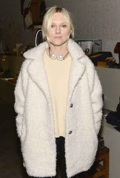 Laura Brown attended the Evening of Collaboration event wearing a necklace with two massive pearls.