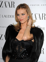 Eva Herzigova wore a pair of aquamarine and black pearl drop earrings set in white gold at the 'Harper's Bazaar' Women of the Year Awards.