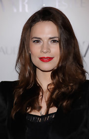 Hayley Atwell showed off her long brown curls while hitting Harper's Bazaar Women of the Year Awards.