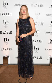 Jodie Foster attended the Harper's Bazaar Women of the Year Awards wearing a sleeveless gown that featured a subtle print and allover beading.