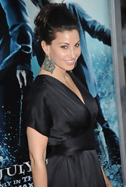 Gina Gershon dressed up her look with an elaborate pair of dangling turquoise earrings at the premiere of 'Harry Potter and the Half-Blood Prince.'